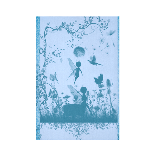 "Beautiful fairy in blue colors Cotton Linen Wall Tapestry 60""x 90"""