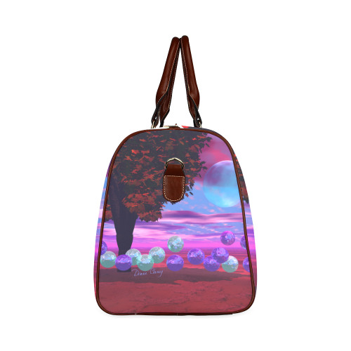 Bubble Garden, Abstract Rose  Azure Wisdom Waterproof Travel Bag/Small (Model 1639)