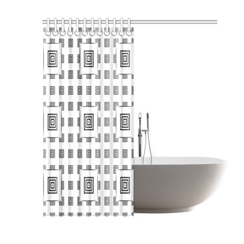 """Solid Squares Frame Mosaic Black & White Shower Curtain 60""""x72"""""""