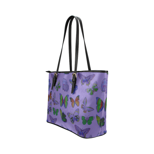 Butterflies (Purple Leather Tote Bag/Large (Model 1651)