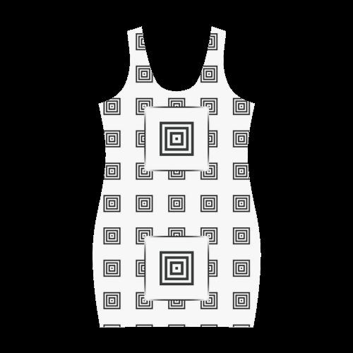 Solid Squares Frame Mosaic Black & White Medea Vest Dress (Model D06)