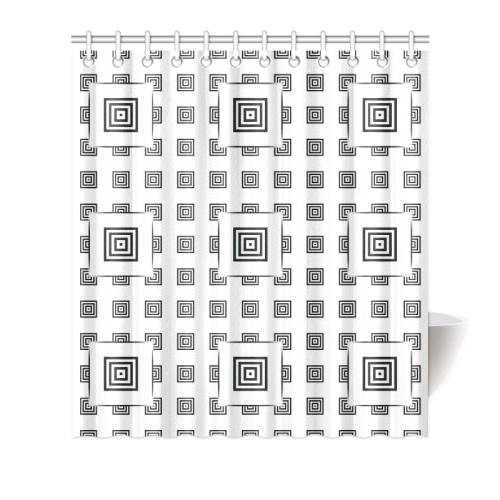 "Solid Squares Frame Mosaic Black & White Shower Curtain 66""x72"""