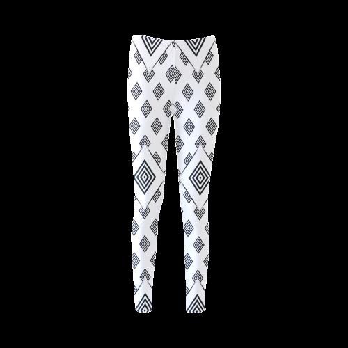 Solid Squares Frame Mosaic Black & White Cassandra Women's Leggings (Model L01)