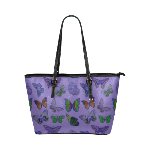 Butterflies (Purple Leather Tote Bag/Large (Model 1651)