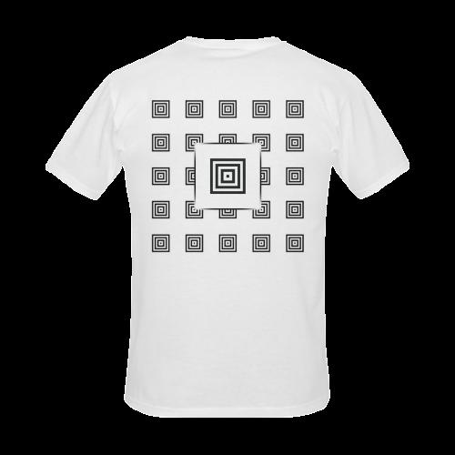 Solid Squares Frame Mosaic Black & White Men's Slim Fit T-shirt (Model T13)