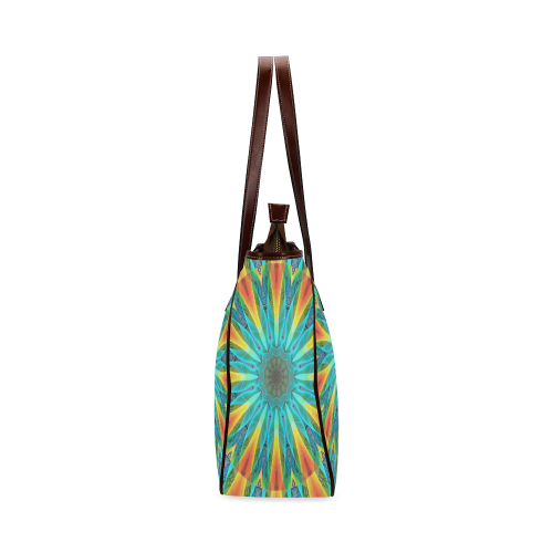 Aqua Gold Joy to the World Flowers, Zen Rainbow Classic Tote Bag (Model 1644)