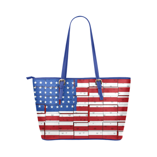 USA Pattern by Nico Bielow Leather Tote Bag/Large (Model 1651)