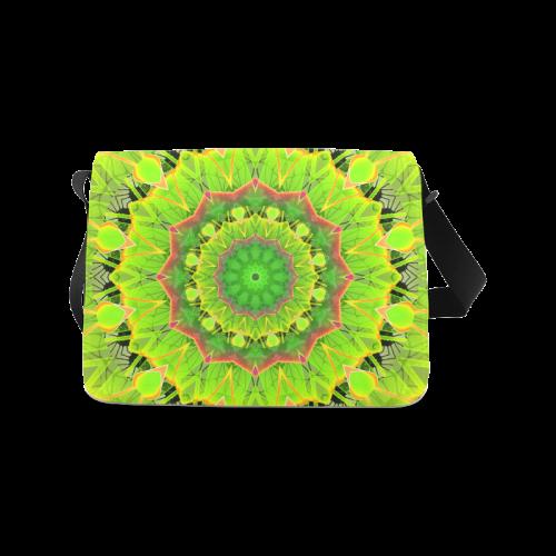 Golden Green Foliage Ferns Abstract Summer Days Messenger Bag (Model 1628)