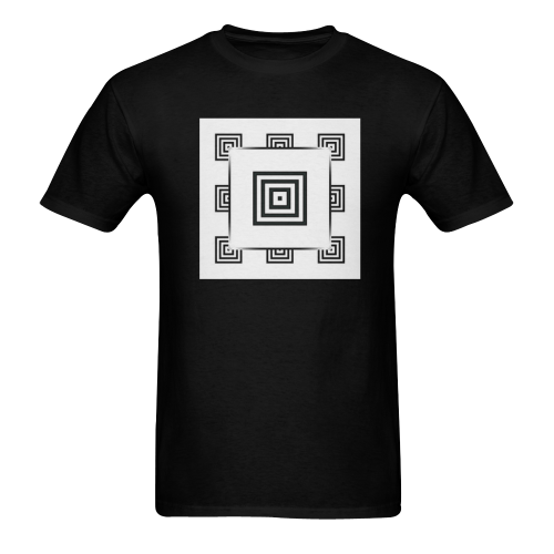 Solid Squares Frame Mosaic Black & White Sunny Men's T-shirt (USA Size) (Model T02)