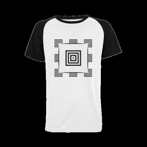Solid Squares Frame Mosaic Black & White Men's Raglan T-shirt Big Size (USA Size) (Model T11)