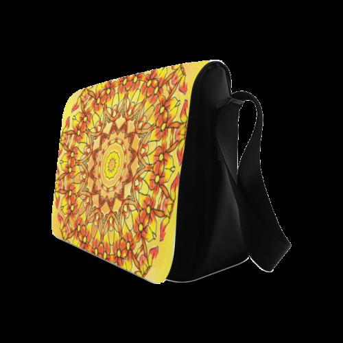 Orange Yellow Sunflower Mandala Red Zendoodle Messenger Bag (Model 1628)