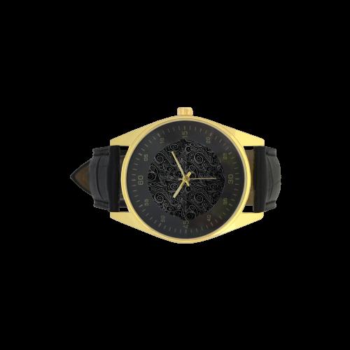 A elegant floral damasks in  silver and black Men's Golden Leather Strap Watch(Model 210)