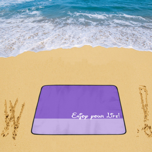"Two Colors - violet mix + Message: Enjoy your Life Beach Mat 78""x 60"""