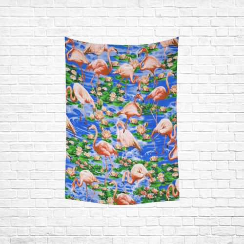 "Flamingos Cotton Linen Wall Tapestry 40""x 60"""