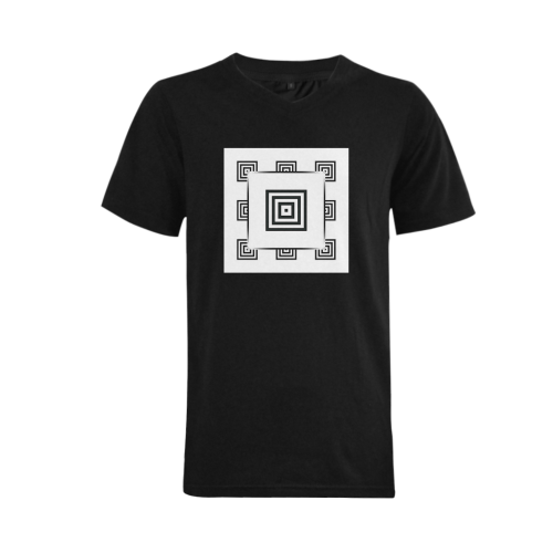 Solid Squares Frame Mosaic Black & White Men's V-Neck T-shirt  Big Size(USA Size) (Model T10)