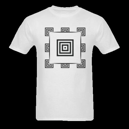 Solid Squares Frame Mosaic Black & White Sunny Men's T-shirt (USA Size) (Model T02)
