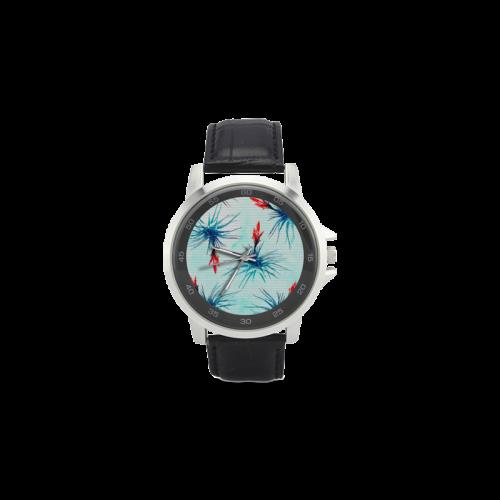 Tillandsia Flower Unisex Stainless Steel Leather Strap Watch(Model 202)