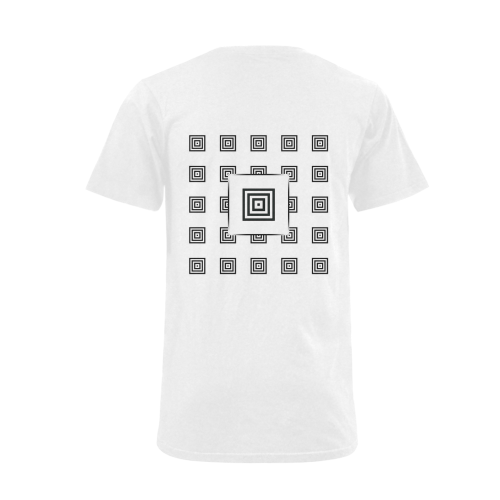 Solid Squares Frame Mosaic Black & White Men's V-Neck T-shirt  Big Size(USA Size) (Model T10)