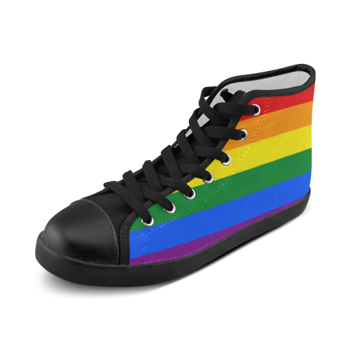 Gay Pride Rainbow Flag Stripes Women's High Top Canvas Shoes (Model 002)
