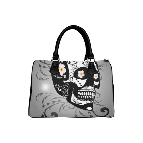 Wonderful sugar skull in black and white Boston Handbag (Model 1621)