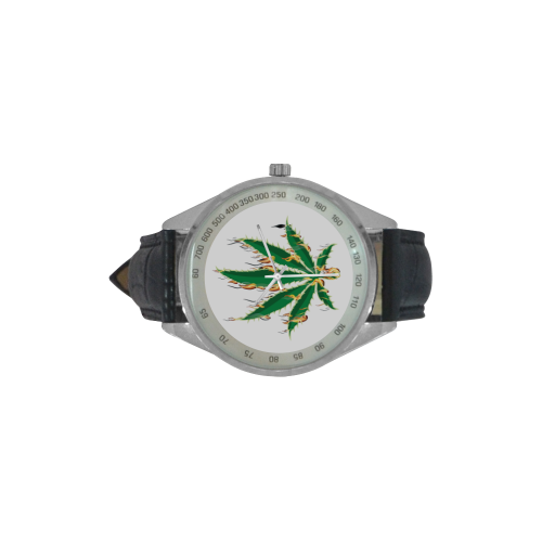 Flaming Marijuana Leaf Men's Leather Strap Analog Watch(Model 209)