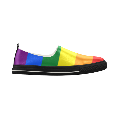 Gay Pride Rainbow Flag Stripes Apus Slip-on Microfiber Women's Shoes (Model 021)