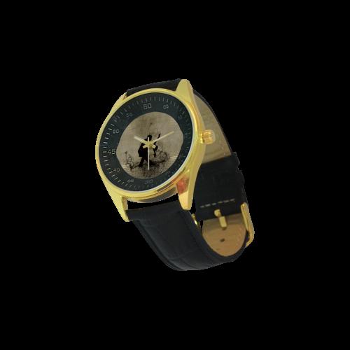 Wonderful dancing couple Men's Golden Leather Strap Watch(Model 210)