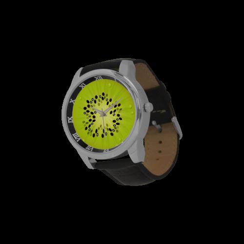 kiwi Men's Leather Strap Large Dial Watch(Model 213)