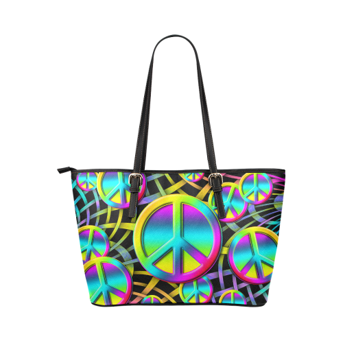 Neon Colorful PEACE pattern Leather Tote Bag/Large (Model 1651)