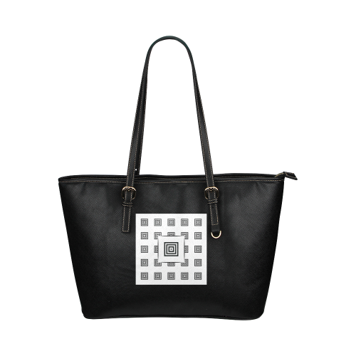Solid Squares Frame Mosaic Black & White Leather Tote Bag/Large (Model 1651)