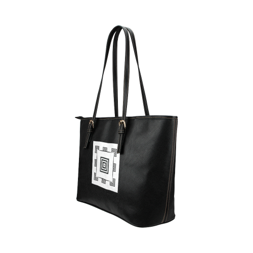 Solid Squares Frame Mosaic Black & White Leather Tote Bag/Small (Model 1651)