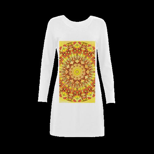 Orange Yellow Sunflower Mandala Red Zendoodle Demeter Long Sleeve Nightdress (Model D03)