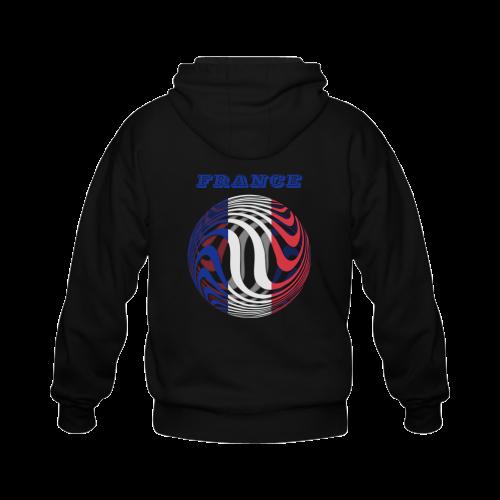 The Flag of France Gildan Full Zip Hooded Sweatshirt (Model H02)