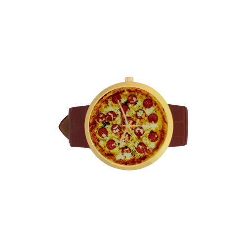 Novelty Cheesy Pepperoni Pizza Women's Golden Leather Strap Watch(Model 212)