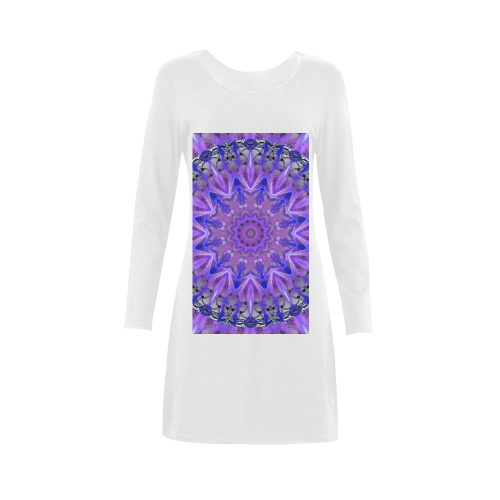 Abstract Plum Ice Crystal Palace Lattice Lace Demeter Long Sleeve Nightdress (Model D03)