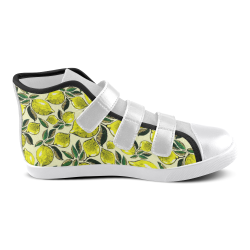 Lemon Juicy Vintage Pattern Velcro High Top Canvas Kid's Shoes (Model 015)