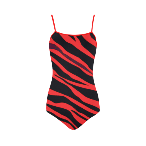 Red Zebra Stripes Strap Swimsuit ( Model S05)