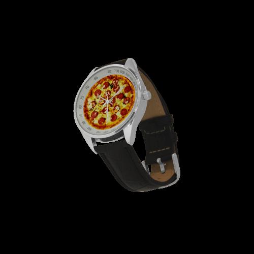 Novelty Cheesy Pepperoni Pizza Men's Leather Strap Analog Watch(Model 209)