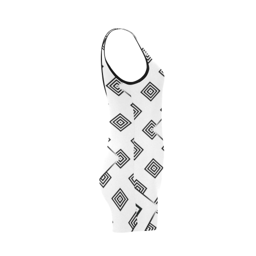Solid Squares Frame Mosaic Black & White Classic One Piece Swimwear (Model S03)