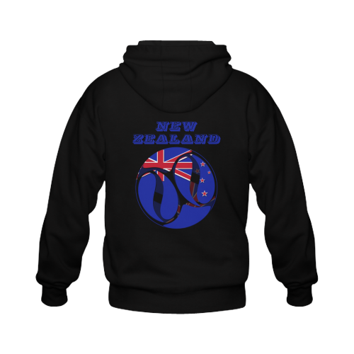The Flag of New Zealand Gildan Full Zip Hooded Sweatshirt (Model H02)