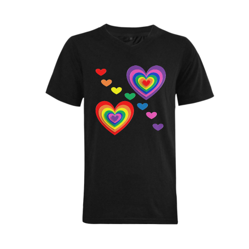Gay Pride Hearts Men's V-Neck T-shirt (USA Size) (Model T10)