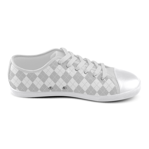 White and Grey Argyle Women's Canvas Shoes (Model 016)
