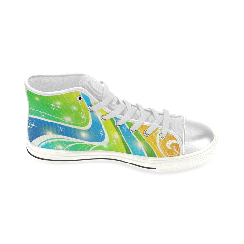 Swirls Festive Bright Abstact Colors Women's Classic High Top Canvas Shoes (Model 017)