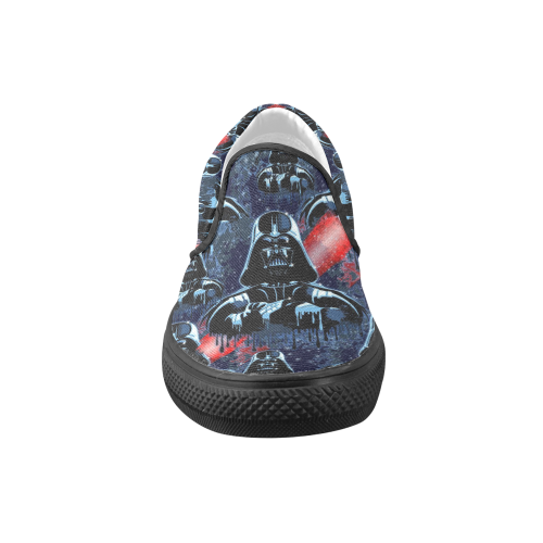 Darth Vader Mask on Dark Paint Stains Women's Unusual Slip-on Canvas Shoes (Model 019)