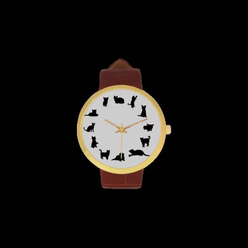 Conceptual Novelty Cat O'Clock Women's Golden Leather Strap Watch(Model 212)