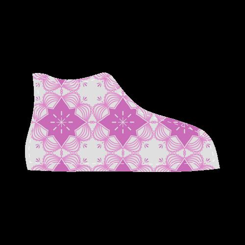 Boho Mandala Fashion Shoes ( Pink and White ) High Top Canvas Kid's Shoes (Model 002)