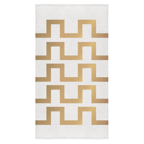 "Exclusive White and Gold Fashion Blocks Bath Towel 30""x56"""