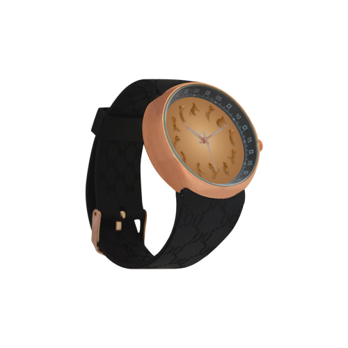 Conceptual Cat O'Clock Jumping Cats Men's Rose Gold Resin Strap Watch(Model 308)