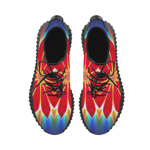 Blue Ice Flowers Red Abstract Modern Petals Zen Grus Women's Breathable Woven Running Shoes (Model 022)