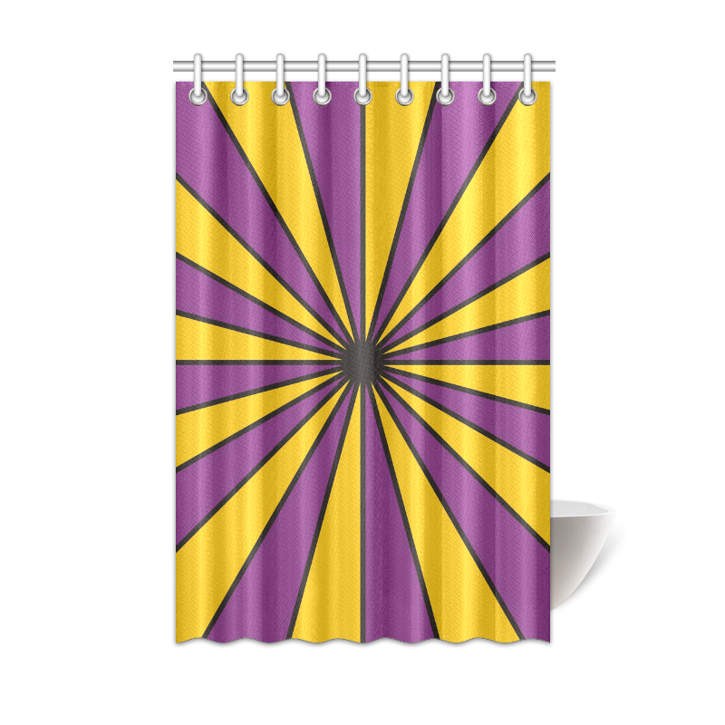 CVS0098 Purple And Poppy Yellow Rays Shower Curtain 48 X72 ID D